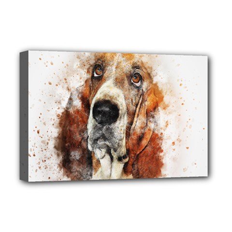 Dog Basset Pet Art Abstract Deluxe Canvas 18  X 12