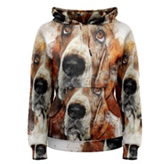 Dog Basset Pet Art Abstract Women s Pullover Hoodie