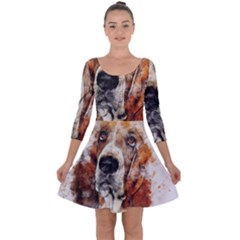 Dog Basset Pet Art Abstract Quarter Sleeve Skater Dress