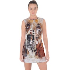 Dog Basset Pet Art Abstract Lace Up Front Bodycon Dress