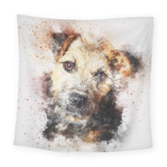 Dog Animal Pet Art Abstract Square Tapestry (large)
