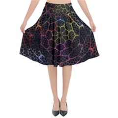Background Grid Art Abstract Flared Midi Skirt