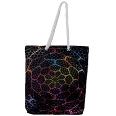 Background Grid Art Abstract Full Print Rope Handle Tote (large)