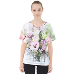 Flowers Bouquet Art Abstract V Neck Dolman Drape Top
