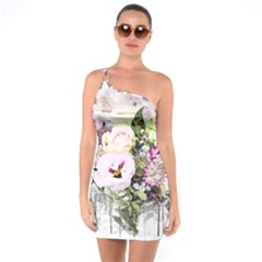 Flowers Bouquet Art Abstract One Soulder Bodycon Dress