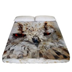Bird Owl Animal Art Abstract Fitted Sheet (california King Size)