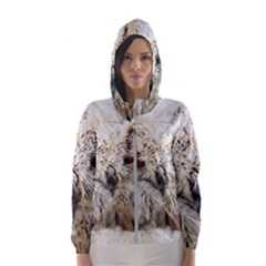Bird Owl Animal Art Abstract Hooded Wind Breaker (women)