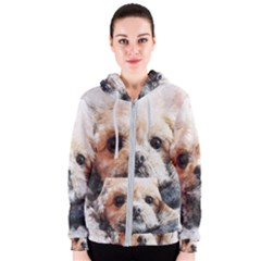 Dog Animal Pet Art Abstract Women s Zipper Hoodie