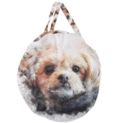 Dog Animal Pet Art Abstract Giant Round Zipper Tote