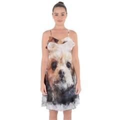 Dog Animal Pet Art Abstract Ruffle Detail Chiffon Dress