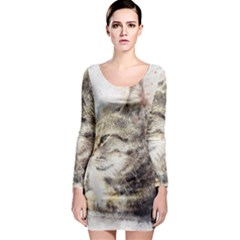 Cat Animal Art Abstract Watercolor Long Sleeve Bodycon Dress