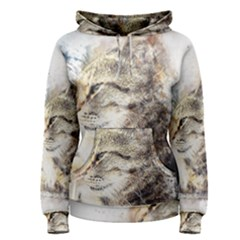 Cat Animal Art Abstract Watercolor Women s Pullover Hoodie