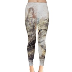 Cat Animal Art Abstract Watercolor Classic Winter Leggings