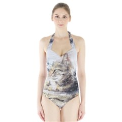 Cat Animal Art Abstract Watercolor Halter Swimsuit