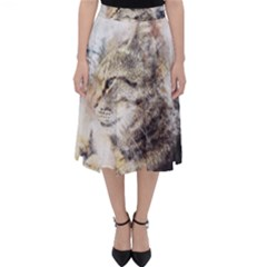 Cat Animal Art Abstract Watercolor Folding Skater Skirt