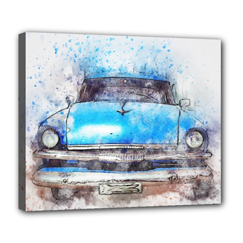 Car Old Car Art Abstract Deluxe Canvas 24  X 20