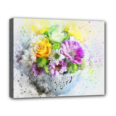 Flowers Vase Art Abstract Nature Deluxe Canvas 20  X 16