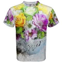 Flowers Vase Art Abstract Nature Men s Cotton Tee