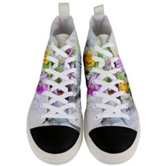 Flowers Vase Art Abstract Nature Men s Mid Top Canvas Sneakers