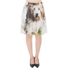 Dog Animal Pet Art Abstract Velvet High Waist Skirt