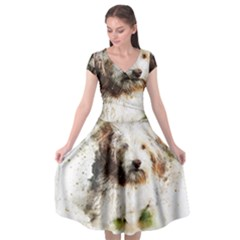 Dog Animal Pet Art Abstract Cap Sleeve Wrap Front Dress