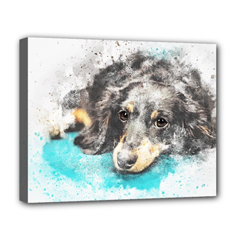 Dog Animal Art Abstract Watercolor Deluxe Canvas 20  X 16