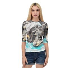 Dog Animal Art Abstract Watercolor Quarter Sleeve Raglan Tee