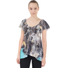 Dog Animal Art Abstract Watercolor Lace Front Dolly Top