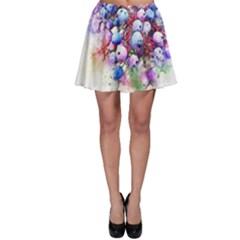Berries Pink Blue Art Abstract Skater Skirt