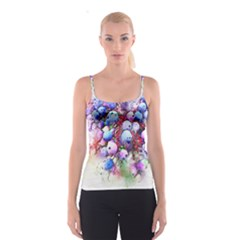 Berries Pink Blue Art Abstract Spaghetti Strap Top