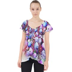 Berries Pink Blue Art Abstract Lace Front Dolly Top