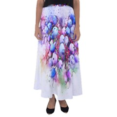 Berries Pink Blue Art Abstract Flared Maxi Skirt