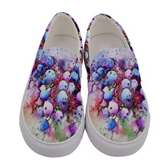 Berries Pink Blue Art Abstract Women s Canvas Slip Ons