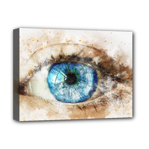 Eye Blue Girl Art Abstract Deluxe Canvas 16  X 12