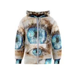 Eye Blue Girl Art Abstract Kids  Zipper Hoodie