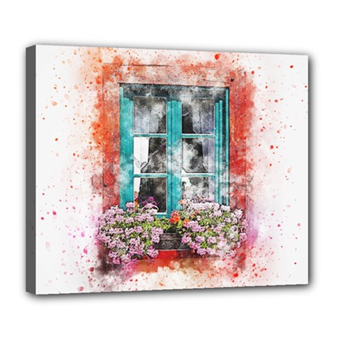 Window Flowers Nature Art Abstract Deluxe Canvas 24  X 20