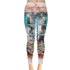 Window Flowers Nature Art Abstract Leggings