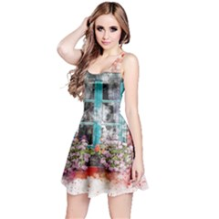 Window Flowers Nature Art Abstract Reversible Sleeveless Dress