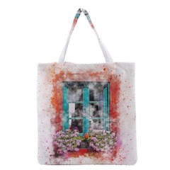 Window Flowers Nature Art Abstract Grocery Tote Bag