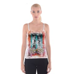 Window Flowers Nature Art Abstract Spaghetti Strap Top
