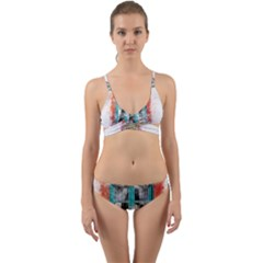Window Flowers Nature Art Abstract Wrap Around Bikini Set