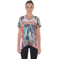 Window Flowers Nature Art Abstract Cut Out Side Drop Tee