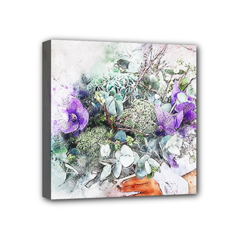 Flowers Bouquet Art Abstract Mini Canvas 4  X 4