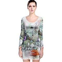 Flowers Bouquet Art Abstract Long Sleeve Bodycon Dress