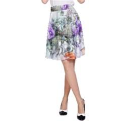 Flowers Bouquet Art Abstract A Line Skirt