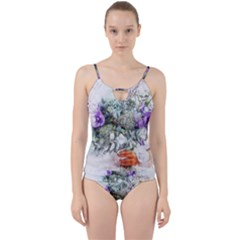 Flowers Bouquet Art Abstract Cut Out Top Tankini Set