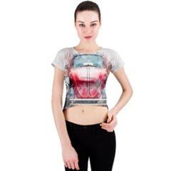 Red Car Old Car Art Abstract Crew Neck Crop Top