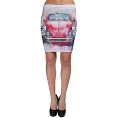 Red Car Old Car Art Abstract Bodycon Skirt