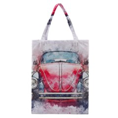 Red Car Old Car Art Abstract Classic Tote Bag