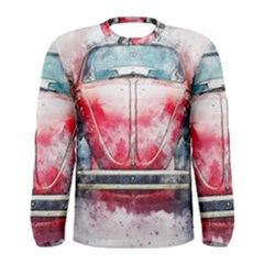 Red Car Old Car Art Abstract Men s Long Sleeve Tee